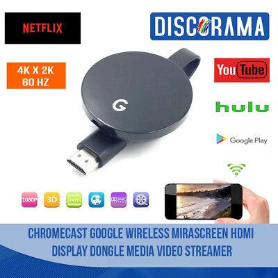 CHROMECAST GOOGLE WIRELESS MIRASCREEN HDMI DISPLAY DONGLE MEDIA VIDEO STREAMER