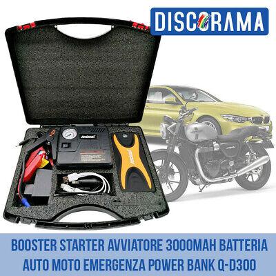 BOOSTER STARTER AVVIATORE 3000mAh BATTERIA AUTO MOTO EMERGENZA POWER BANK Q-D300