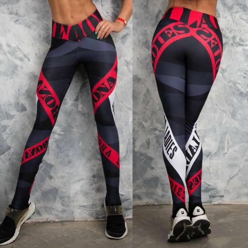 Women High Waist Sports Yoga Pants Leggings Printed Fitness Gym Stretch Trousers 5