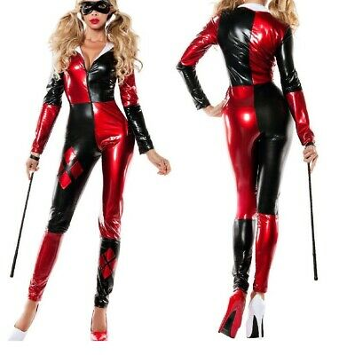 harley quinn costume Shiny Metallic Zentai supervillain of - Zentai Kostüme Batman