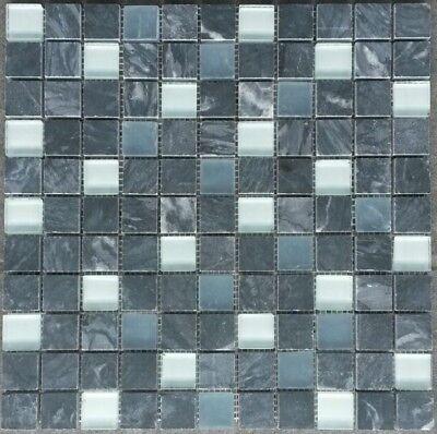 Marmor Glasmosaik Matte 30 X 30 Cm Grau Weiss Mosaik Fliesen Naturstein, Neu