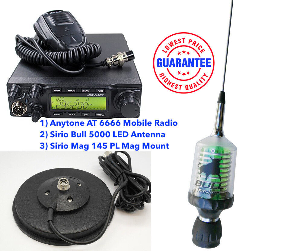 Details about Combo:Anytone AT 6666 Mobile Radio + Sirio Bull 5000 LED  Antenna + Mag 145 Mount