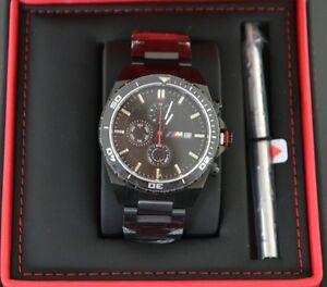 Original BMW M Chronograph Armbanduhr Uhr Zifferblatt Schwarz ***NEU/OVP***