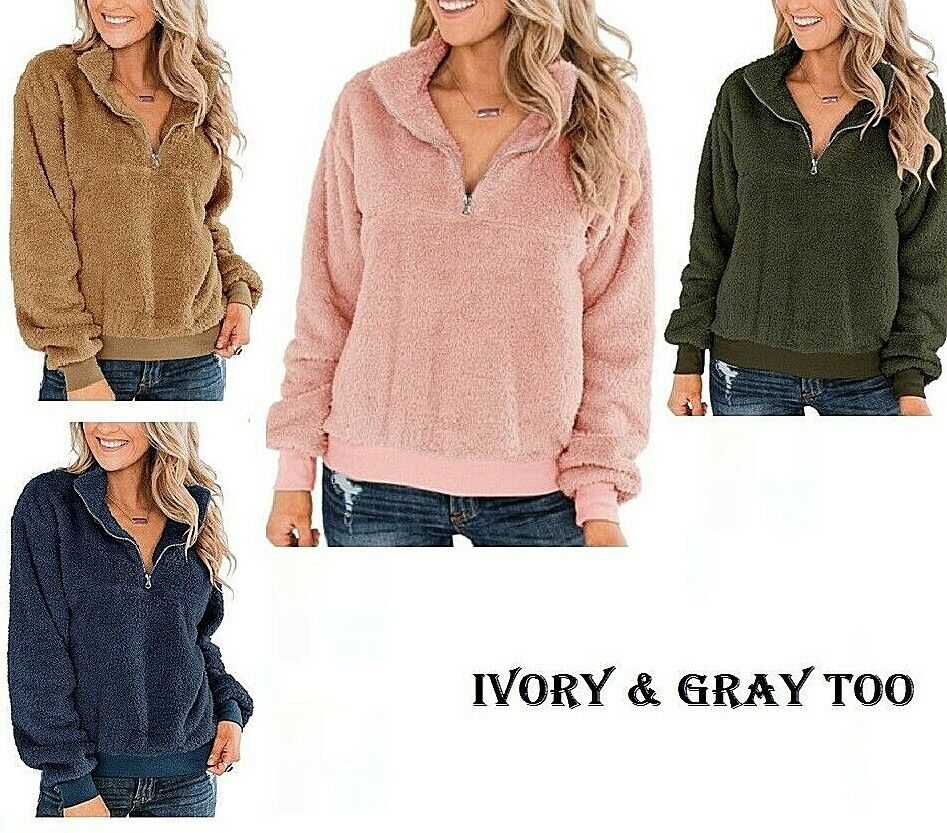 Women's Fleece Pullovers Pullover sweater Long Sleeve 1/4 Zip Soft Cozy Warm Activewear