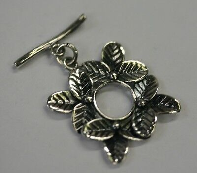 Rings Leaf Clasp - 20mm Solid 925 Sterling Silver Ring Bar Toggle Clasp with Flower Leaves Design