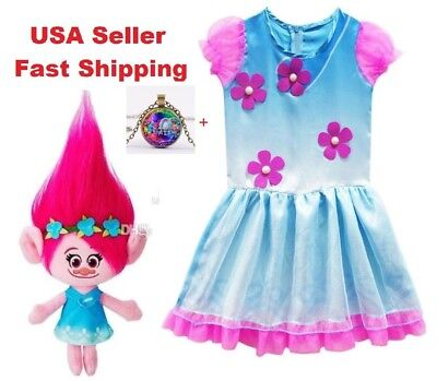 Trolls Poppy Cosplay Costumes  Clothes Kids Party Holiday Birthday Dress O14 - Kids Troll Costume