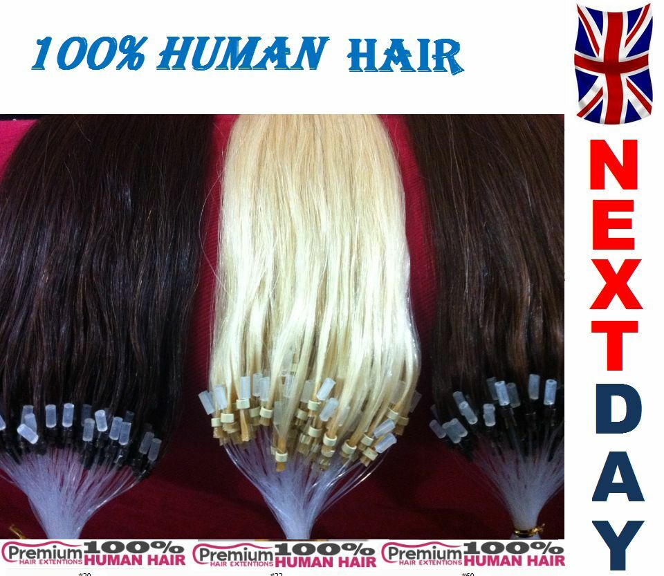 "20"" Loop Micro Ring 100% Remy Human Hair Extensions,Choose Colour, 6A QUALITY"