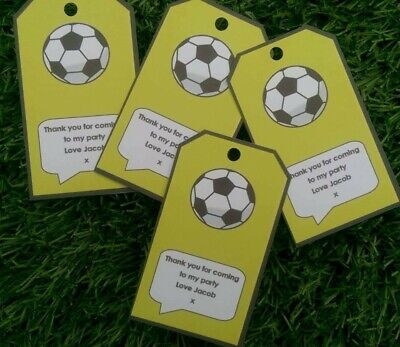 FOOTBALL THEMED FAVOUR TAGS, LUGGAGE TAG SHAPE, PERSONALISED, BIRTHDAY PACK 12](Football Themed Favors)
