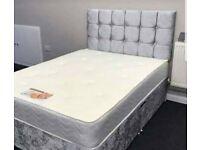 🎆💖🎆SPECIAL OFFER🎆💖🎆 CRUSH VELVET DOUBLE DIVAN BED + SEMI ORTHOPEDIC MATTRESS