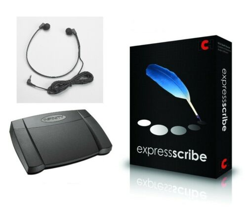 Express Scribe Pro Transcriber Foot Pedal Headset Bundle