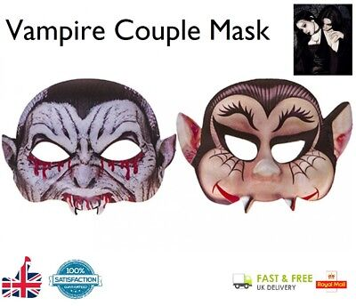 Vampire Couple Mask Mr & Mrs Halloween Fancy Dress Mask Ladies & Mens Scary Look - Vampire Look Halloween