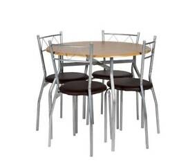 Oslo Round Wood Effect Dining Table & 4 Chairs (brand new and boxed)