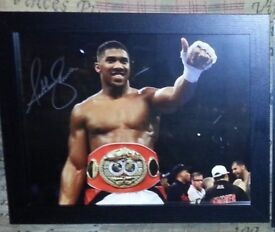 Hand signed Anthony Joshua framed photo