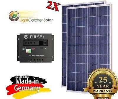 200 Watt 200W Solar Panel Kit + Solar controller 12/24V volt RV Boat Off Grid