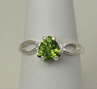 Peridot Trillion Cut 1.10 ct  Ring - Size 7 - Sterling Silver