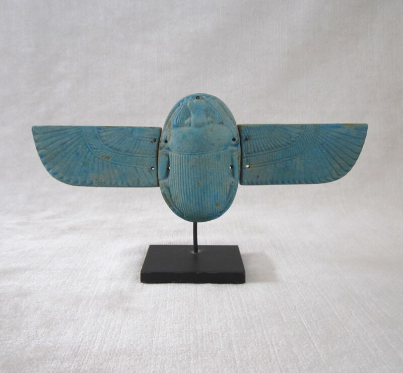 ANCIENT EGYPTIAN BLUE FAIENCE WINGED SCARAB, Late Period, circa 664-30 B.C.