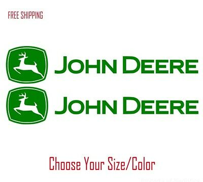 (2) John Deere Vinyl Decal for Car Truck Tractor Window Sticker Heavy Farm Equip