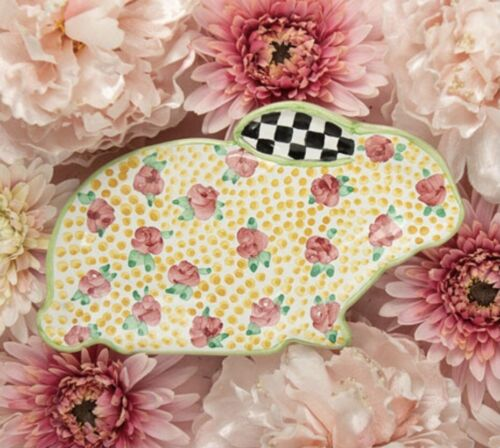MacKenzie-Childs Cabbage Rose Bunny Plate - Exclusive, Limited Edition