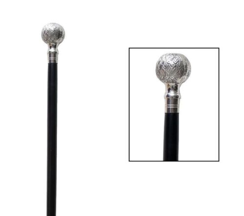 PINEAPPLE DESIGN HANDLE WALKING STICK CANE SOLID BRASS HANDLE WOODEN BROWN STICK