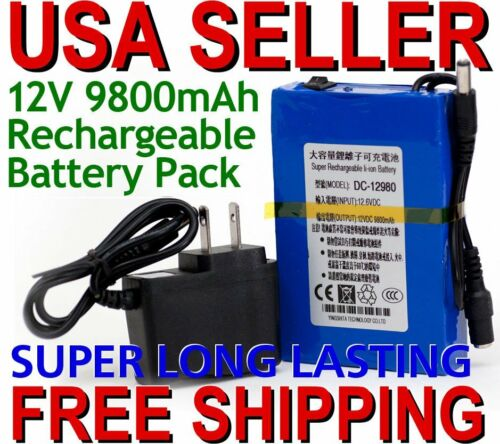 Pro DC12V 9800mAh Rechargeable Portable Li-ion Battery US Pl