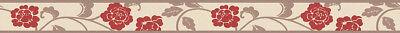 Floral 5'3 (Bordüre Selbstklebend SK 5 m lang 5,3 cm breit Floral Beige Braun Rot)