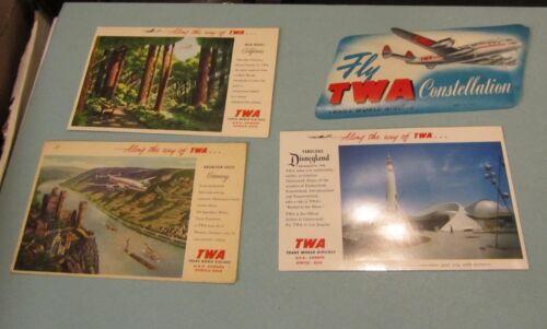Vintage TWA Trans World Airlines Constellation Decal + 3 Postcards Disneyland