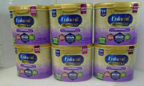 6x Enfamil NeuroPro Gentlease Infant Formula Reusable Powder Tub, 20 oz Milk