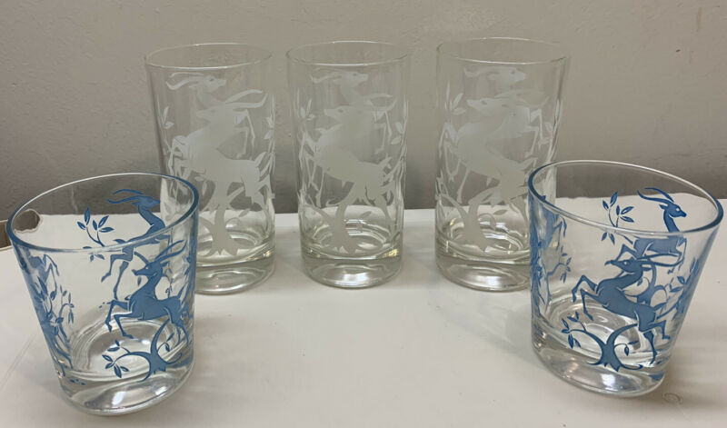 5 Vintage Gazelle Reind Drinking Cocktail Glasses Mid Century Modern White Blue