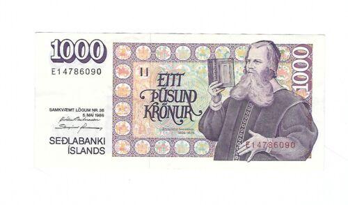 Iceland - 1986 , One Thousand (1000) Kronur