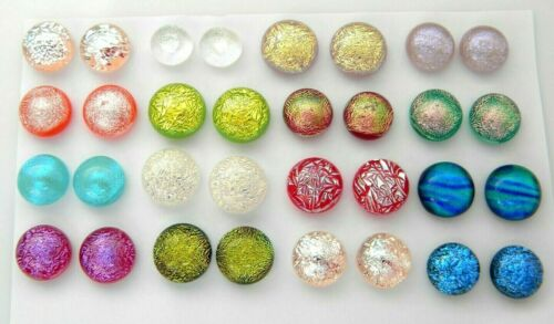 FOR POST EARRINGS TINY Lot 32 pcs round gorgeous DICHROIC FUSED GLASS (BB6) CABS