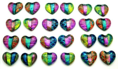 SMALL HEART Lot of 24 pcs handmade DICHROIC earrings FUSED GLASS (BK6) cabs