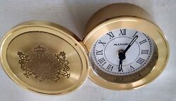 Round Gold plated Desk Alarm Clock with swivel cover - Mayors