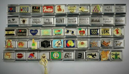 Italian Charms 50 Assorted Stainless Steel Wholesale Lot 9mm (C50-1308) variety