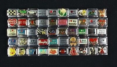 Italian Charms 50 assorted Stainless Steel Wholesale Lot 9mm  (C50-123)