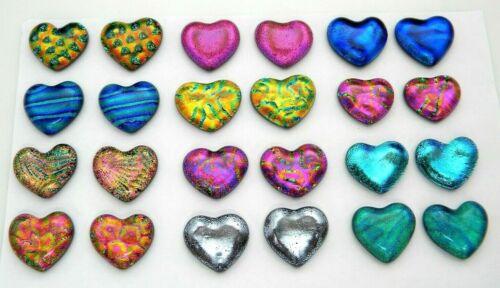 SMALL HEART Lot of 24 pcs handmade DICHROIC earrings FUSED GLASS (Bi24) cabs