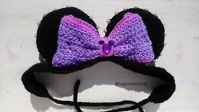 Magic Lila Schleife Haarband Wolle Gehäkelt Disney Micky Maus - Lila Maus Kostüm