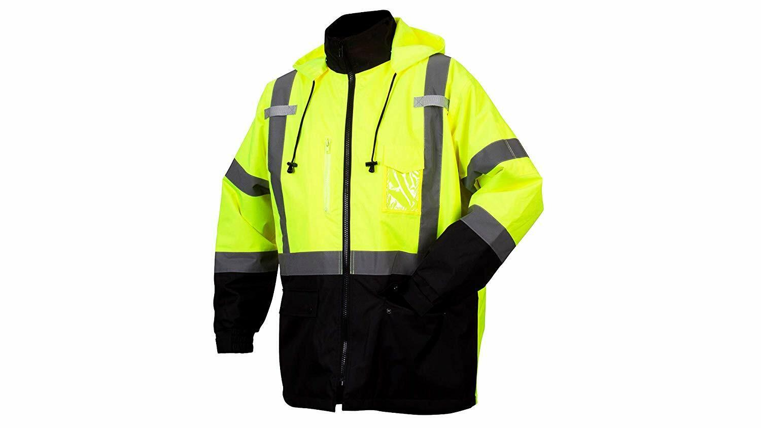 Pyramex RP3110 Hi-Vis Weatherproof Safety Parka, Hi-Vis Lime-Various Size M-4XL Business & Industrial
