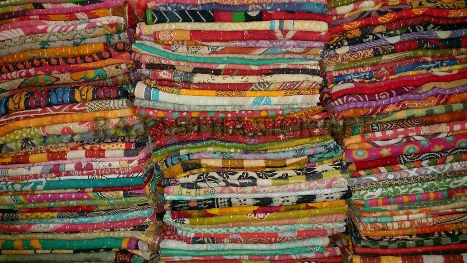 5 Pieces Mix Lot of Indian Tribal Kantha Quilts Bed Cover Th