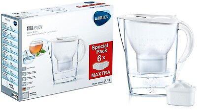 Marella Cool Brita Wasserfilter mit 6! Maxtra+ Wasserfilterkartuschen Weiß