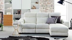 Domayne White L-Shape Leather Lounge & Chaise Bellevue Hill Eastern Suburbs Preview