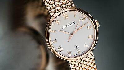 Chopard 18K RG Classique XL Gent's Ultra-Thin Automatic. Full Bracelet. Rare