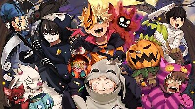 US Seller- Naruto's Halloween Party art poster bar pub decor wall - Halloween Pub Party