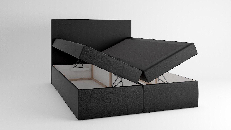 Boxspringbett Schlafzimmerbett OWEN 180x200cm Kunstleder Schwarz