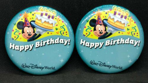 "Walt Disney World Disney Parks 2 Happy Birthday Buttons Mickey Mouse 3"" pins NEW"