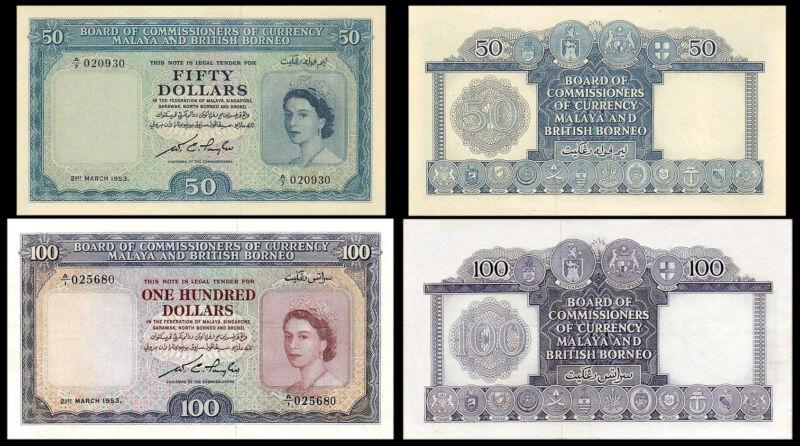 !COPY! MALAYA & BRITISH BORNEO 50$ / 100$ 1953 BANKNOTES !NOT REAL!