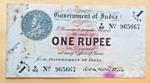 => INDIA ~~ P1B ~~ 1 RUPEE ~~ 1917 ~~ McWATTER | KING GEORGE - VERY SCARCE | <=