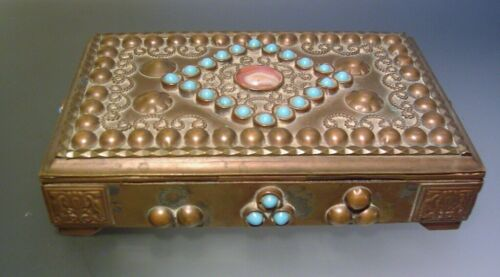 Antique Chinese Tibetan Carnelian Turquoise Trinket Box