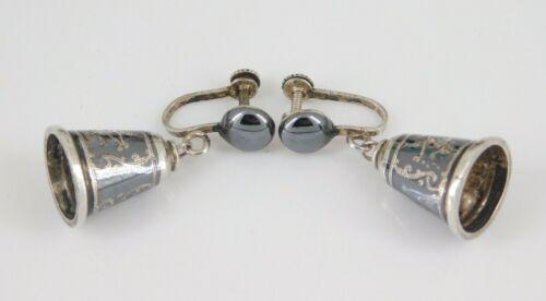 Vintage Siam Sterling Silver Bell Earrings