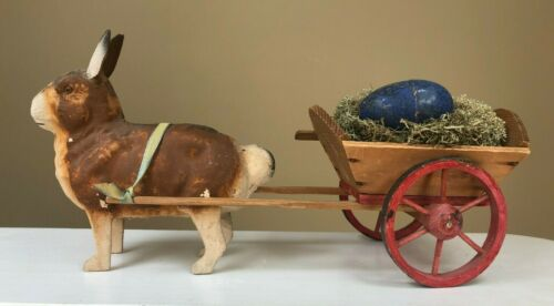 Antique GERMAN Easter Rabbit Glass Eye Candy Container with wagon #13