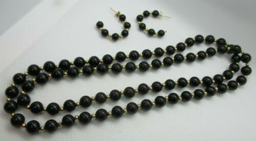 IPS Imperial Pearl Syndicate14K Gold & Black Gemstone Necklace & Earrings SET